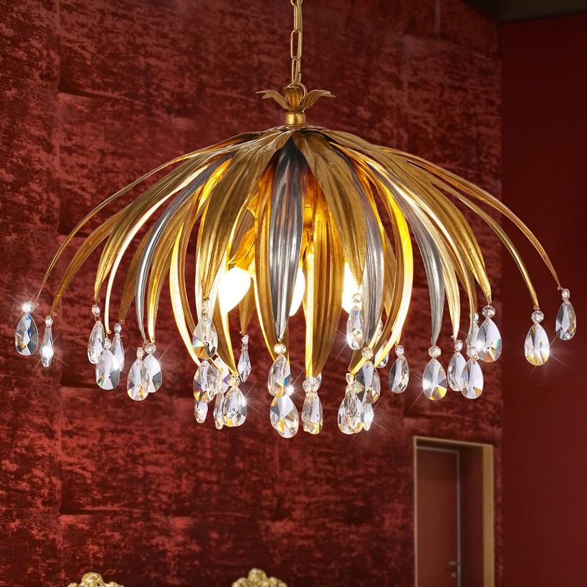 pendelleuchte blattgold und silber kristallbehang 5 flg wohnlicht. Black Bedroom Furniture Sets. Home Design Ideas