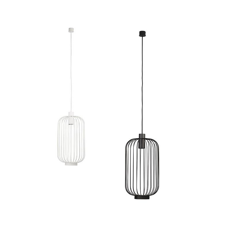 pendelleuchte cage aus metall schwarz oder wei wohnlicht. Black Bedroom Furniture Sets. Home Design Ideas