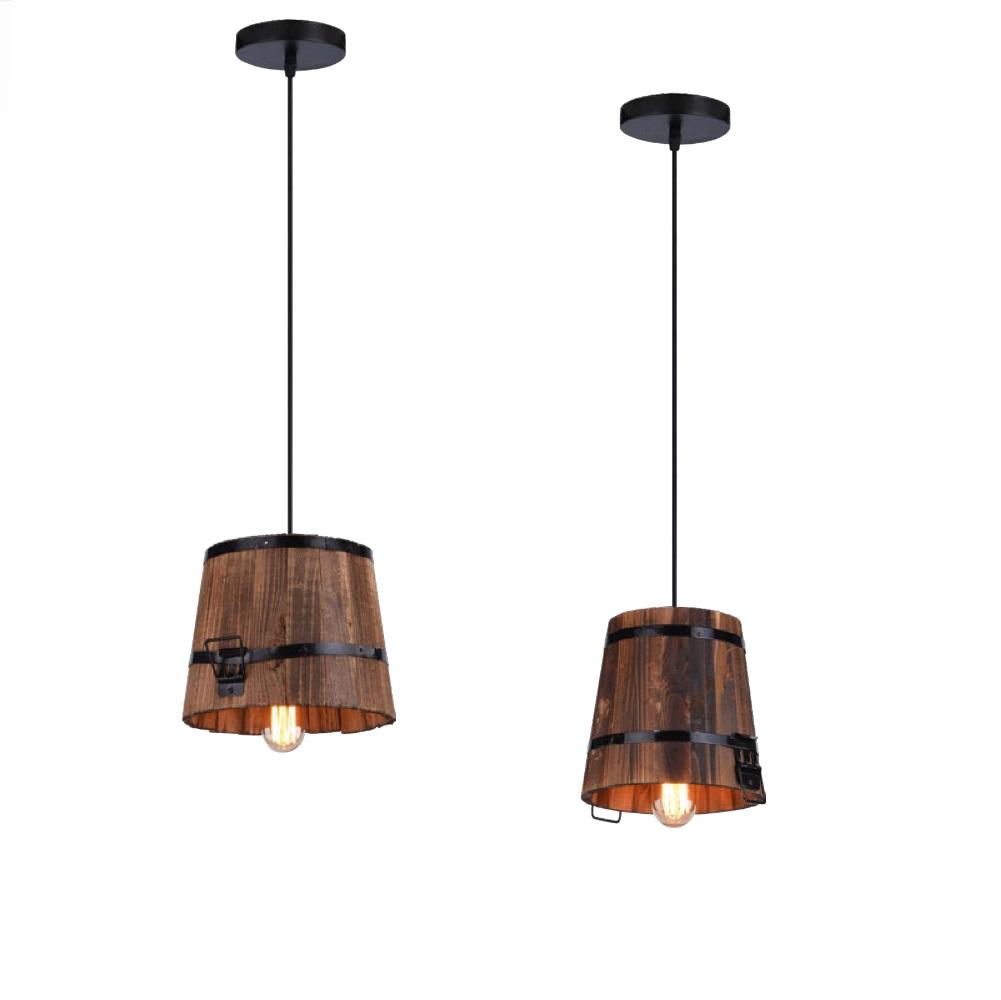 pendelleuchte casper h ngeleuchte mit holzeimer als schirm wohnlicht. Black Bedroom Furniture Sets. Home Design Ideas