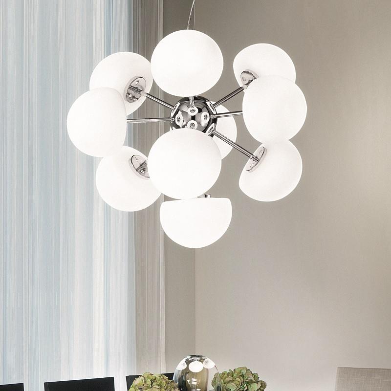 pendelleuchte chrom mundgeblasenes glas 10 flg wohnlicht. Black Bedroom Furniture Sets. Home Design Ideas