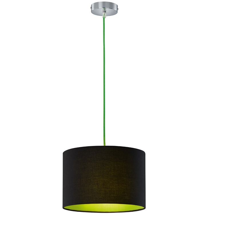 Pendelleuchte colorit stoffschirm schwarz gr n wohnlicht for Pendelleuchte stoffschirm