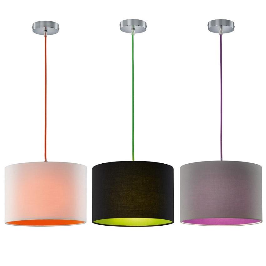 Pendelleuchte colorit stoffschirm 3 farbvarianten wohnlicht for Pendelleuchte stoffschirm
