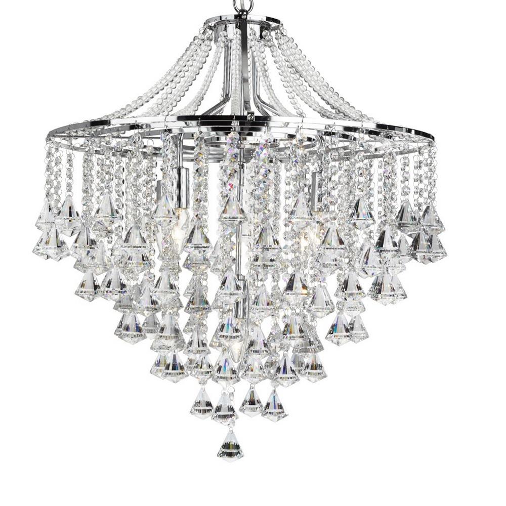 pendelleuchte dorchester 5 flammig mit kristallbehang in chrom wohnlicht. Black Bedroom Furniture Sets. Home Design Ideas