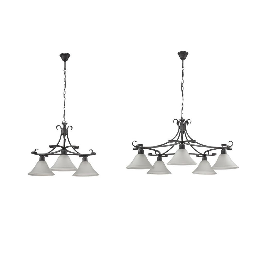 pendelleuchte flores in schwarz 3 oder 5 flammig wohnlicht. Black Bedroom Furniture Sets. Home Design Ideas
