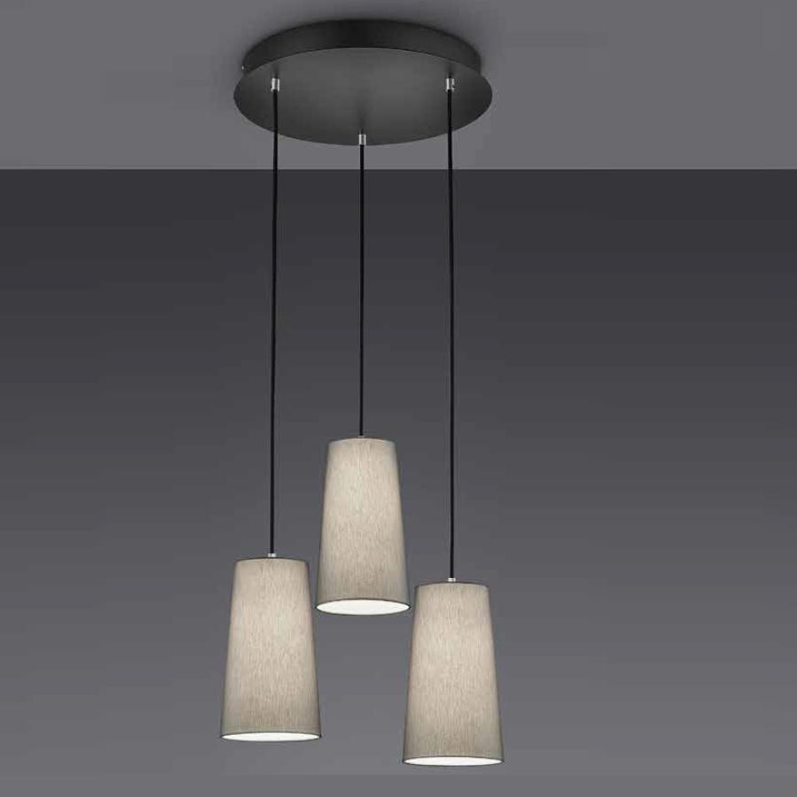 pendelleuchte grace 3 flammig mit stoffschirmen wohnlicht. Black Bedroom Furniture Sets. Home Design Ideas