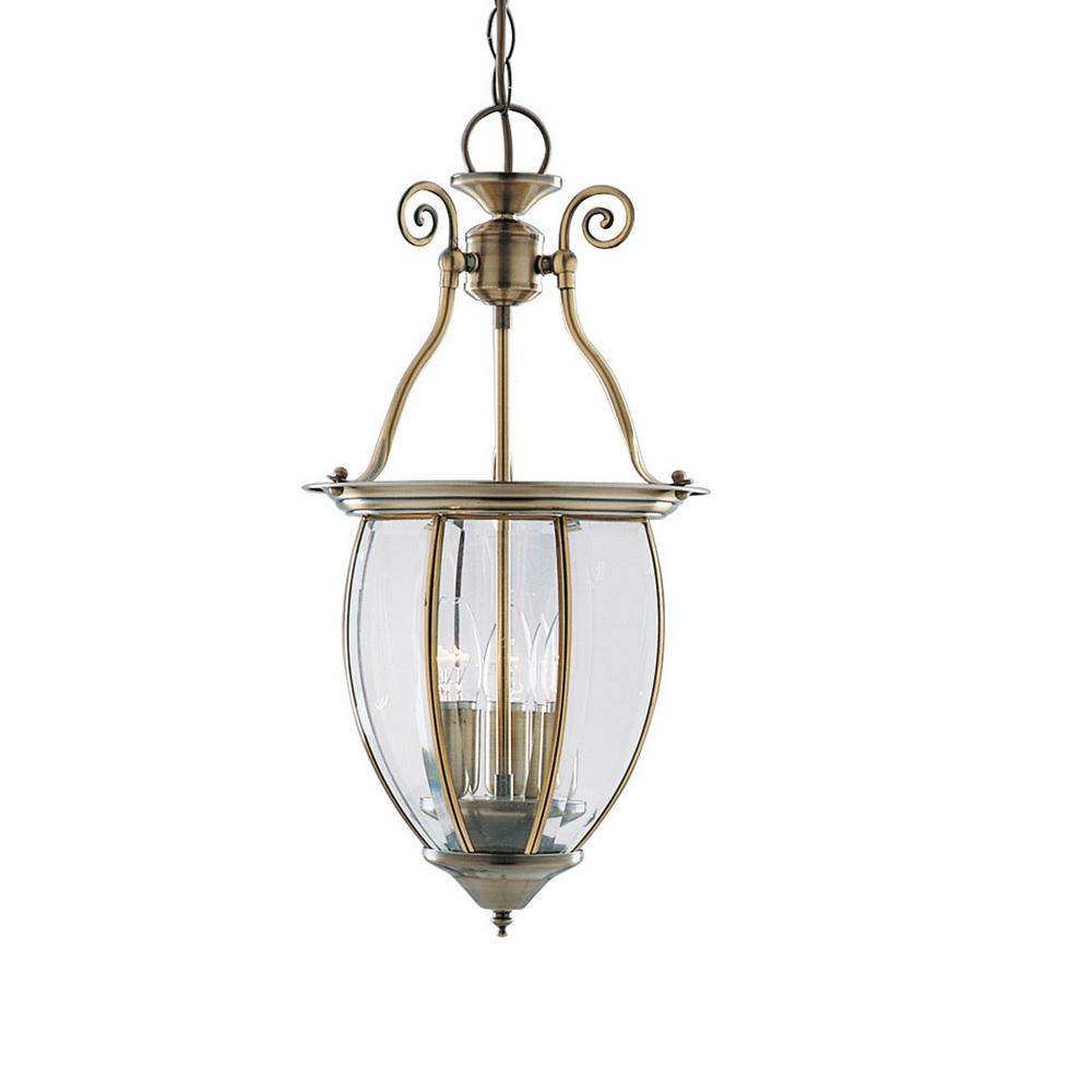 pendelleuchte in laternenform messing antik und klares glas wohnlicht. Black Bedroom Furniture Sets. Home Design Ideas