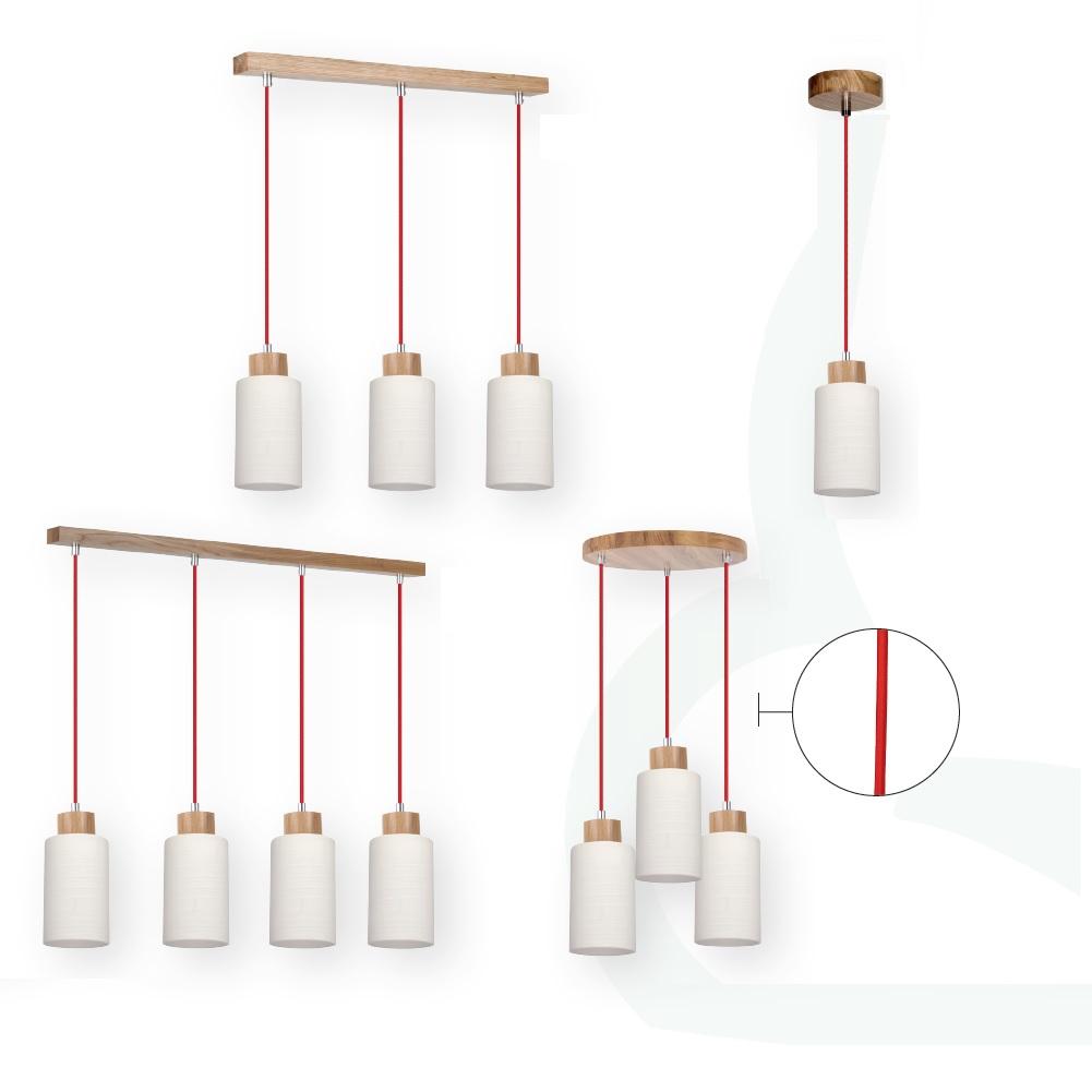 pendelleuchte mit eiche holz textil kabel rot wohnlicht. Black Bedroom Furniture Sets. Home Design Ideas
