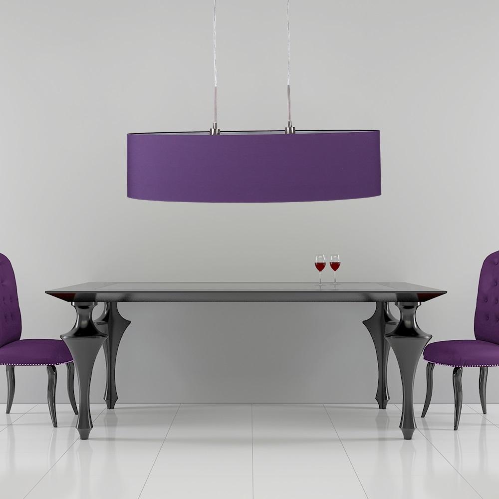 Pendelleuchte mit gro em ovalem stoffschirm in lila lila for Pendelleuchte stoffschirm