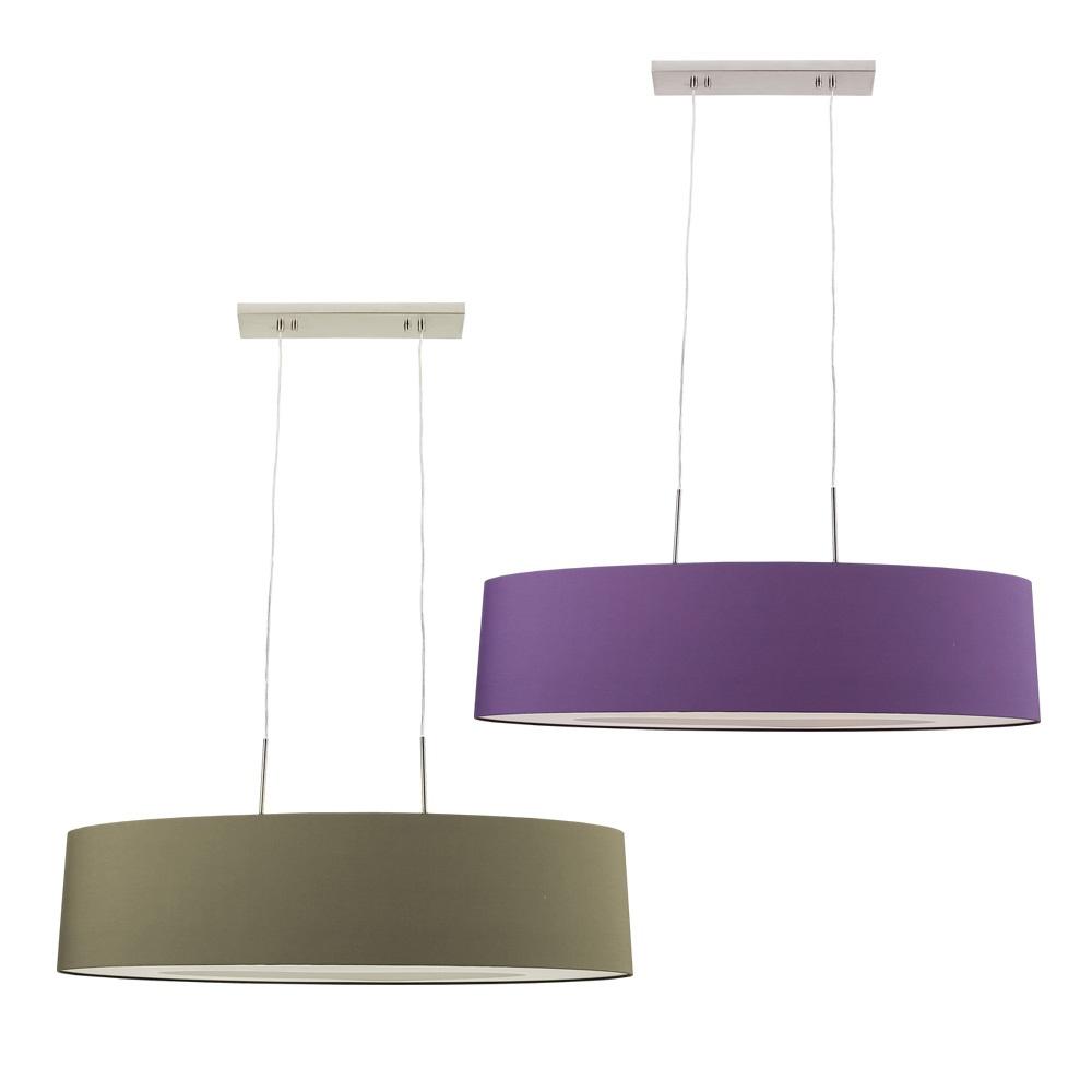 pendelleuchte mit gro em ovalem stoffschirm grau oder lila wohnlicht. Black Bedroom Furniture Sets. Home Design Ideas