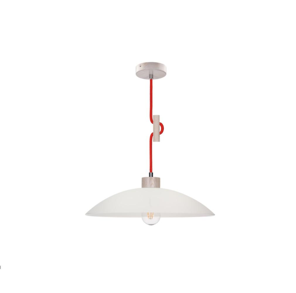 pendelleuchte mit holz glas eiche wei kabel rot 1x 60 watt rot wohnlicht. Black Bedroom Furniture Sets. Home Design Ideas