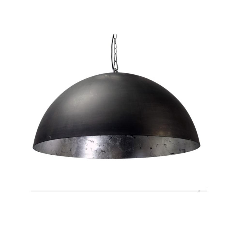 pendelleuchte mit kette leuchtenschirm 60cm h he 35cm kuppel au en schwarz innen silber. Black Bedroom Furniture Sets. Home Design Ideas