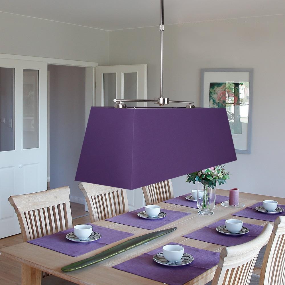 Pendelleuchte mit rechteckigem stoffschirm in lila lila for Pendelleuchte stoffschirm