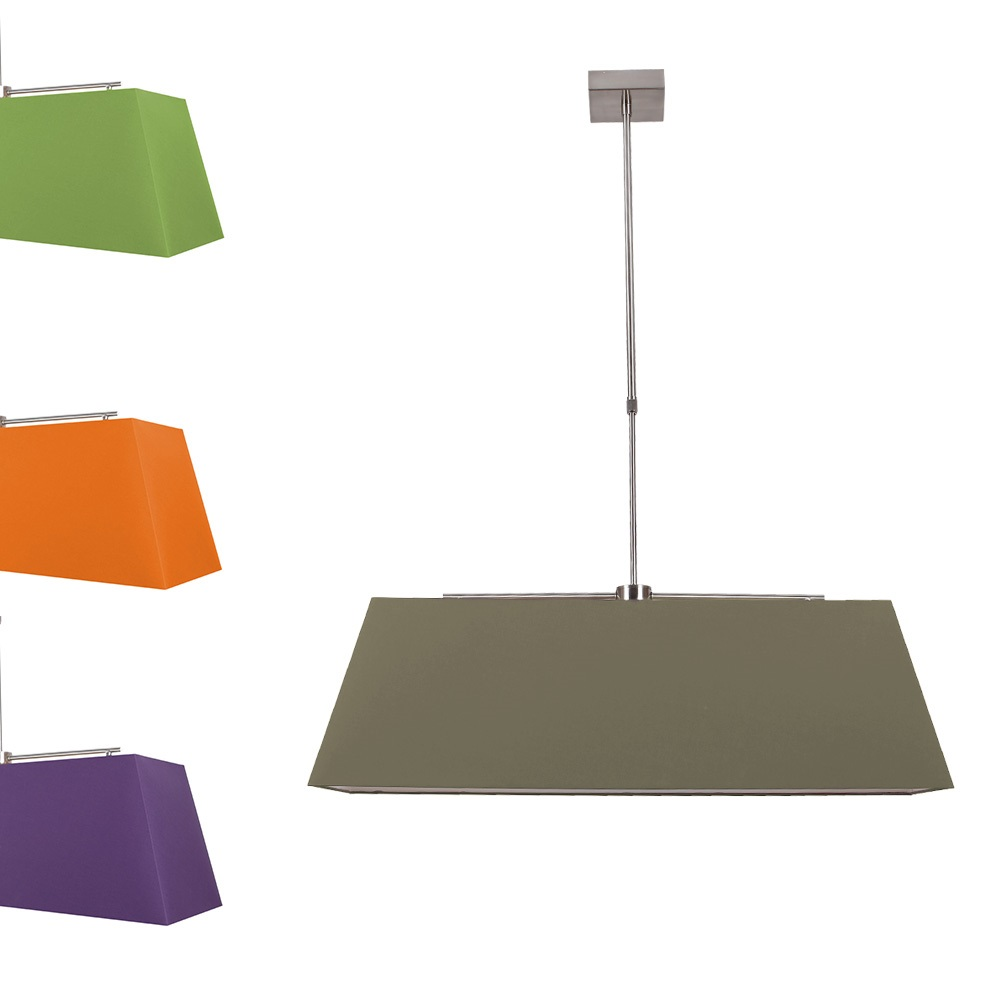 Pendelleuchte mit rechteckigem stoffschirm 4 farben for Pendelleuchte stoffschirm