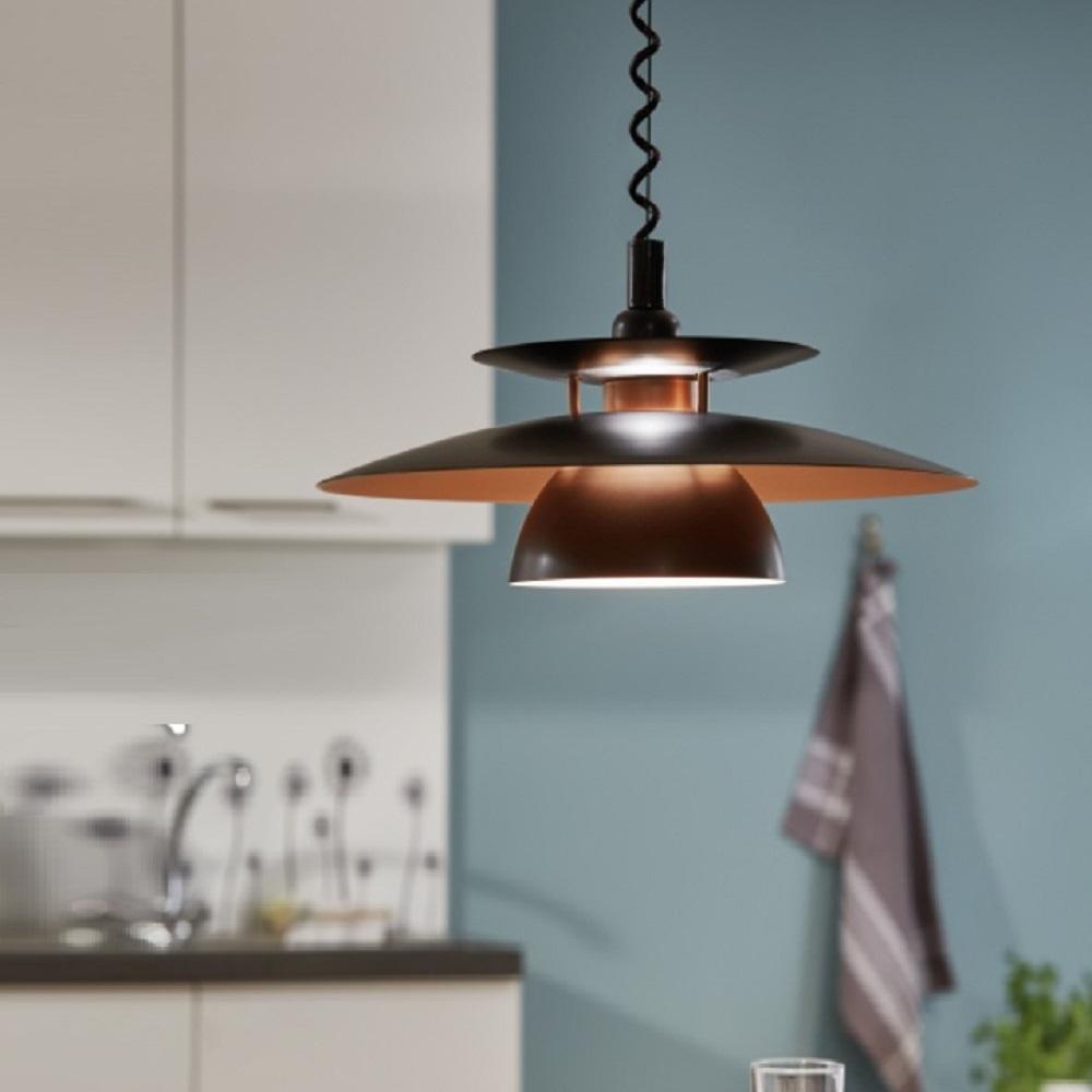 pendelleuchte mit rollyzug spiralkabel schwarz kupfer wohnlicht. Black Bedroom Furniture Sets. Home Design Ideas
