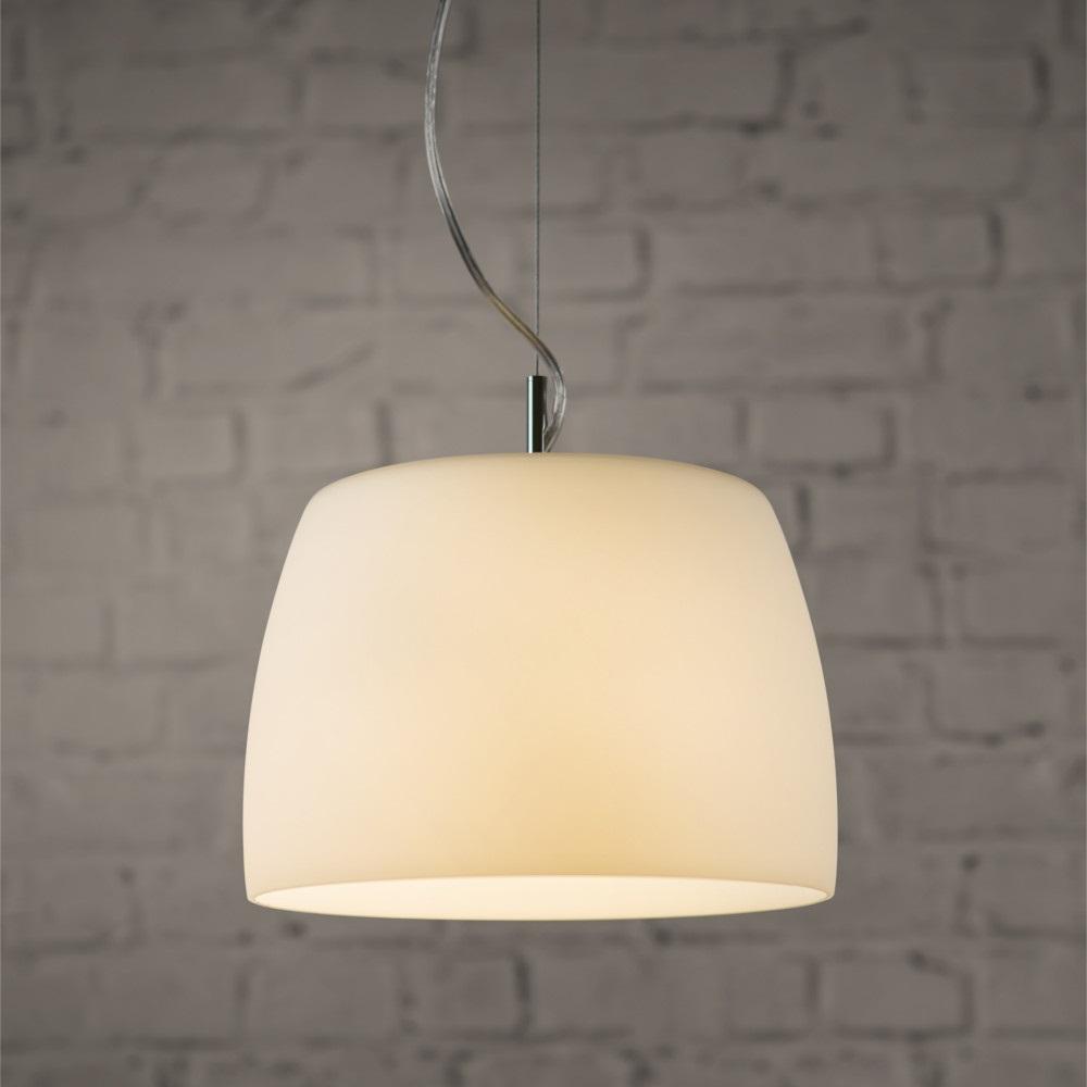 pendelleuchte mit wei em opalglas in chrom 26 cm wohnlicht. Black Bedroom Furniture Sets. Home Design Ideas
