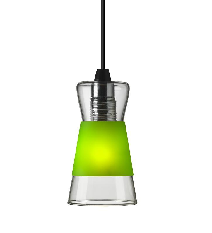 pendelleuchte pure aus glas inklusive drei farbiger blenden in wei gelb gr n wohnlicht. Black Bedroom Furniture Sets. Home Design Ideas