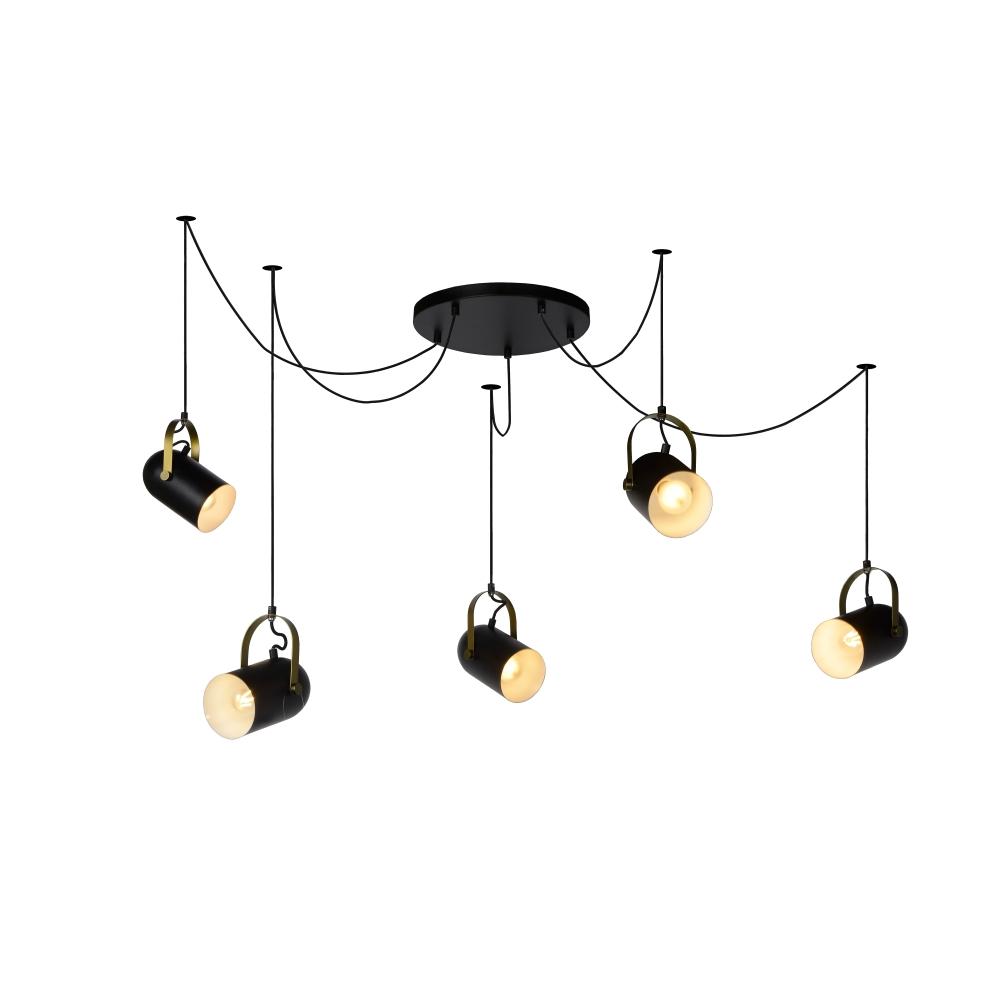 pendelleuchte swapp von lucide schwarz chrom matt wohnlicht. Black Bedroom Furniture Sets. Home Design Ideas