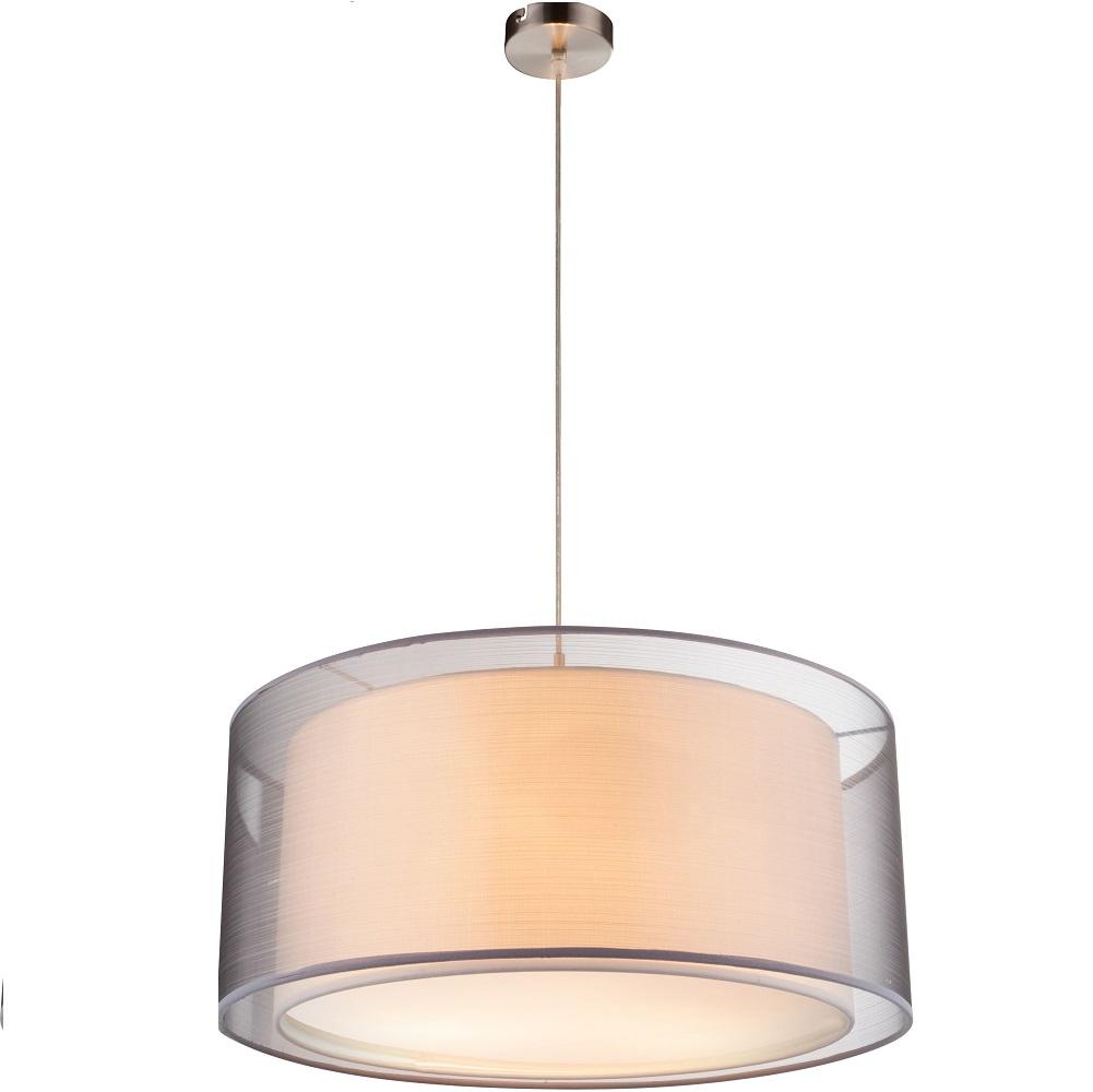 pendelleuchte theo mit schirm in grau und wei 53 cm wohnlicht. Black Bedroom Furniture Sets. Home Design Ideas