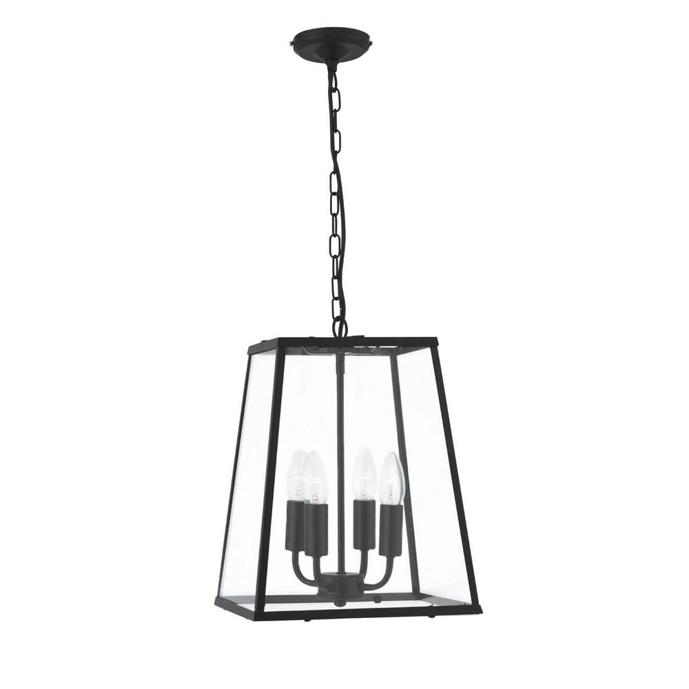 pendelleuchte voyager 4 flammig in laternenform schwarz matt und klares glas wohnlicht. Black Bedroom Furniture Sets. Home Design Ideas