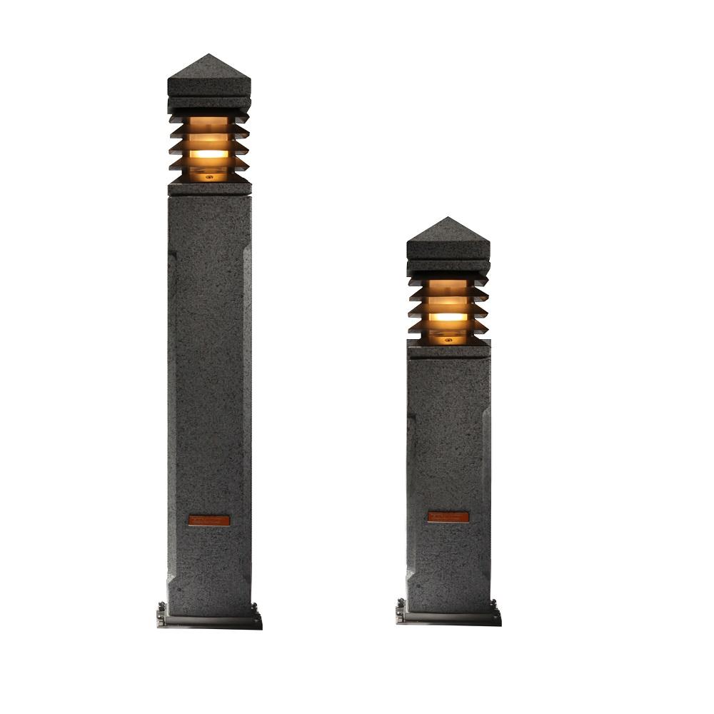 pollerleuchte aus granit mit rostfreien lamellen in 2 gr en wohnlicht. Black Bedroom Furniture Sets. Home Design Ideas