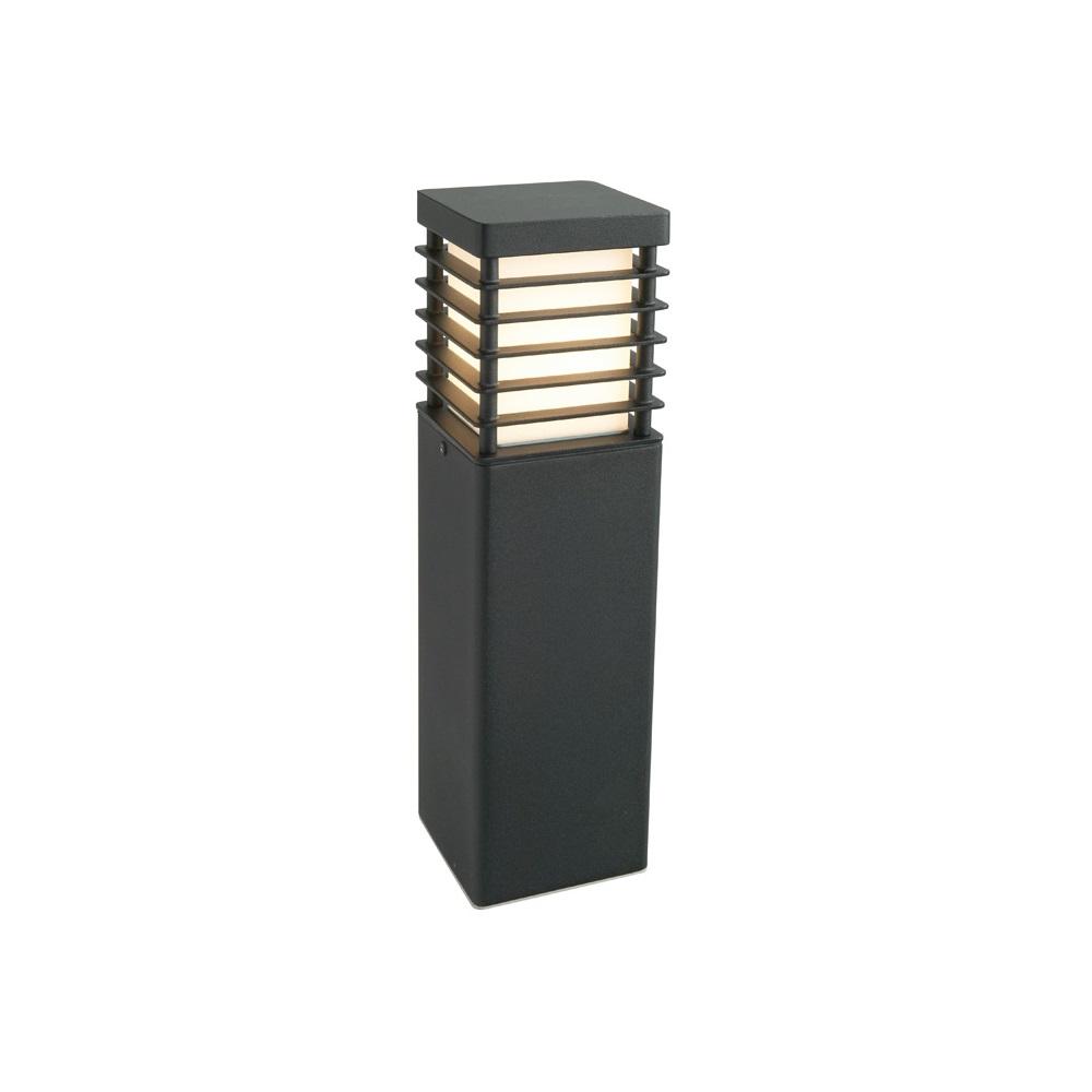 pollerleuchte in schwarz eckig h he 49cm mit e27 sockel wohnlicht. Black Bedroom Furniture Sets. Home Design Ideas