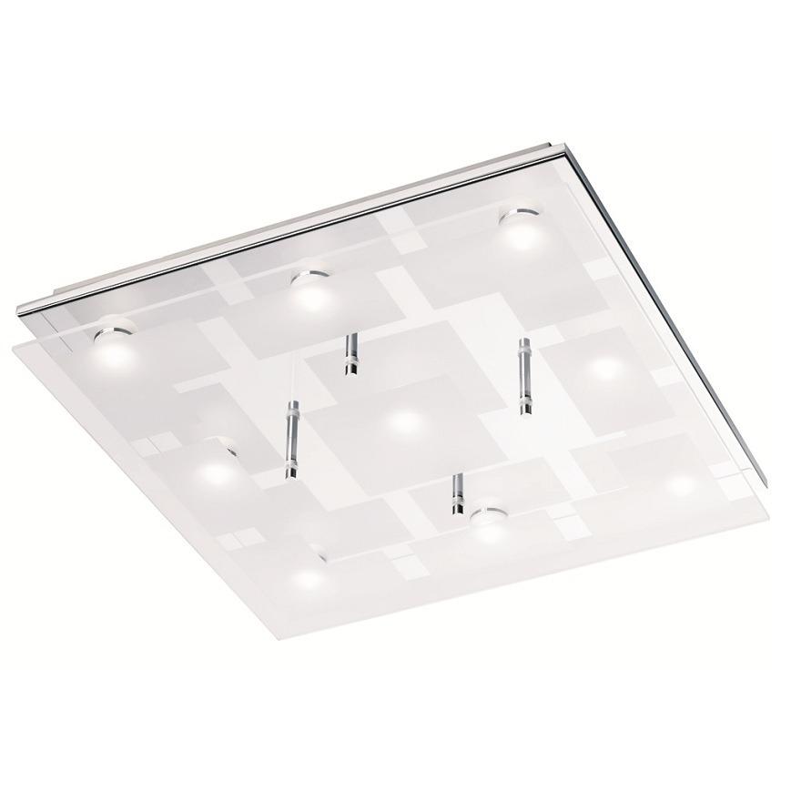 quadratische led deckenleuchte aus chrom und glas inklusive leds 40 cm x 40 cm 9x 3 3 watt. Black Bedroom Furniture Sets. Home Design Ideas