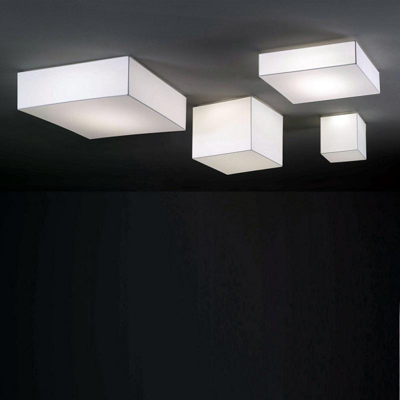 quadratische led deckenleuchte mit textil berzug wohnlicht. Black Bedroom Furniture Sets. Home Design Ideas