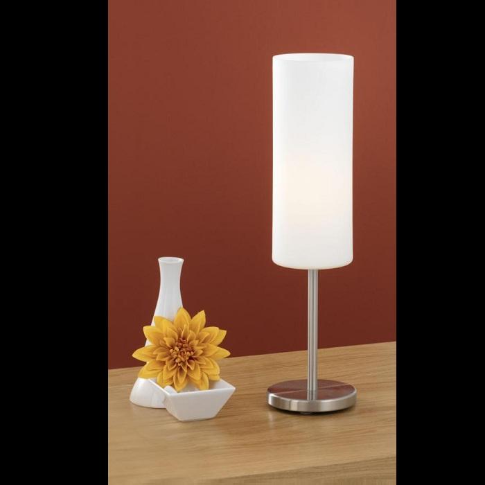 schlichte tischleuchte mit wei em glas wohnlicht. Black Bedroom Furniture Sets. Home Design Ideas