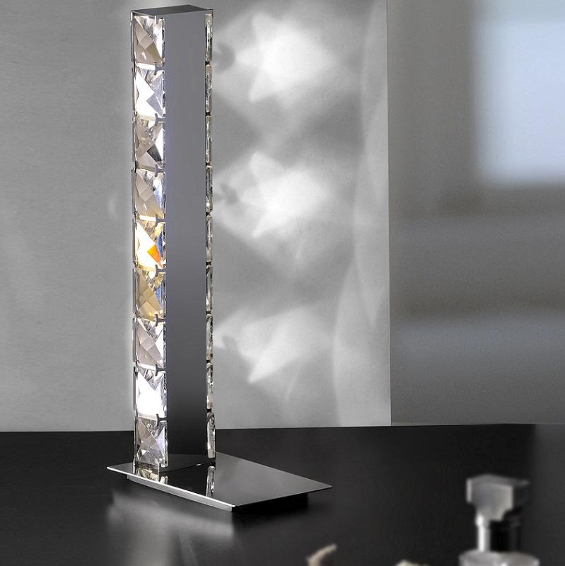 schmuckst ck led tischleuchte chrom und geschliffenes glas wohnlicht. Black Bedroom Furniture Sets. Home Design Ideas