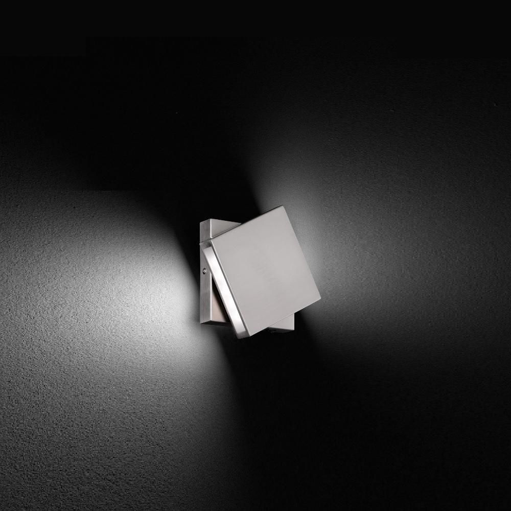 schwenkbare led wandleuchte in nickel matt drehbar. Black Bedroom Furniture Sets. Home Design Ideas