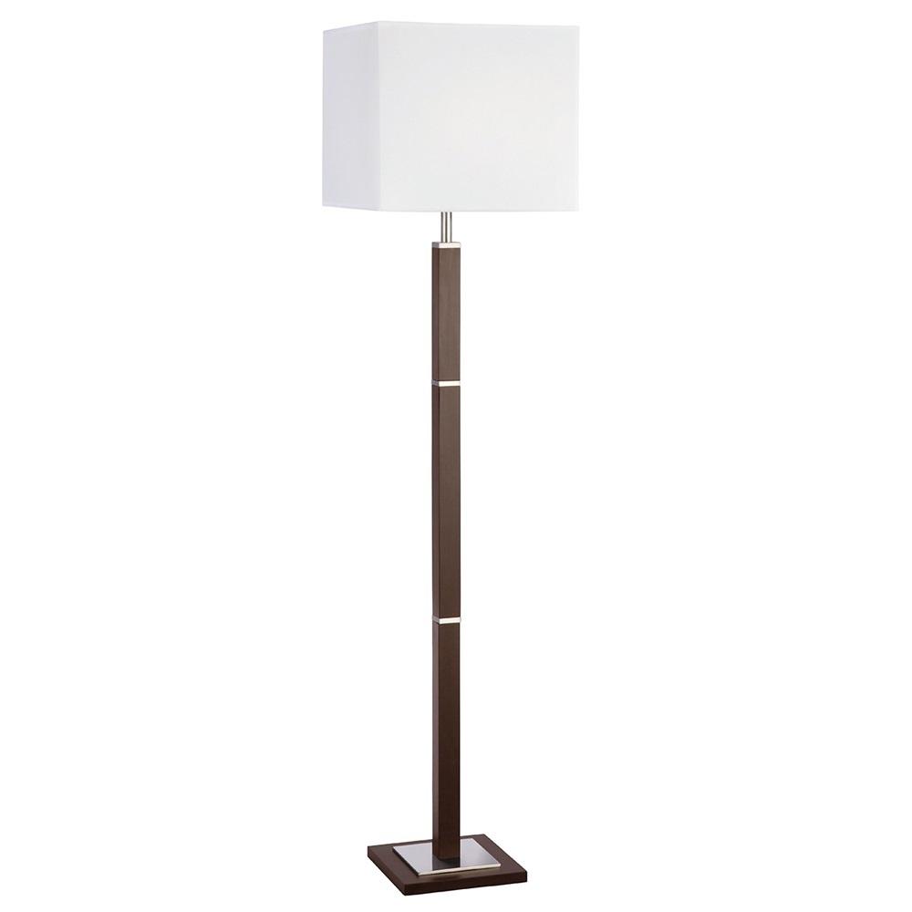 stehleuchte aus holz mahagoni mit wei em stoffschirm wohnlicht. Black Bedroom Furniture Sets. Home Design Ideas
