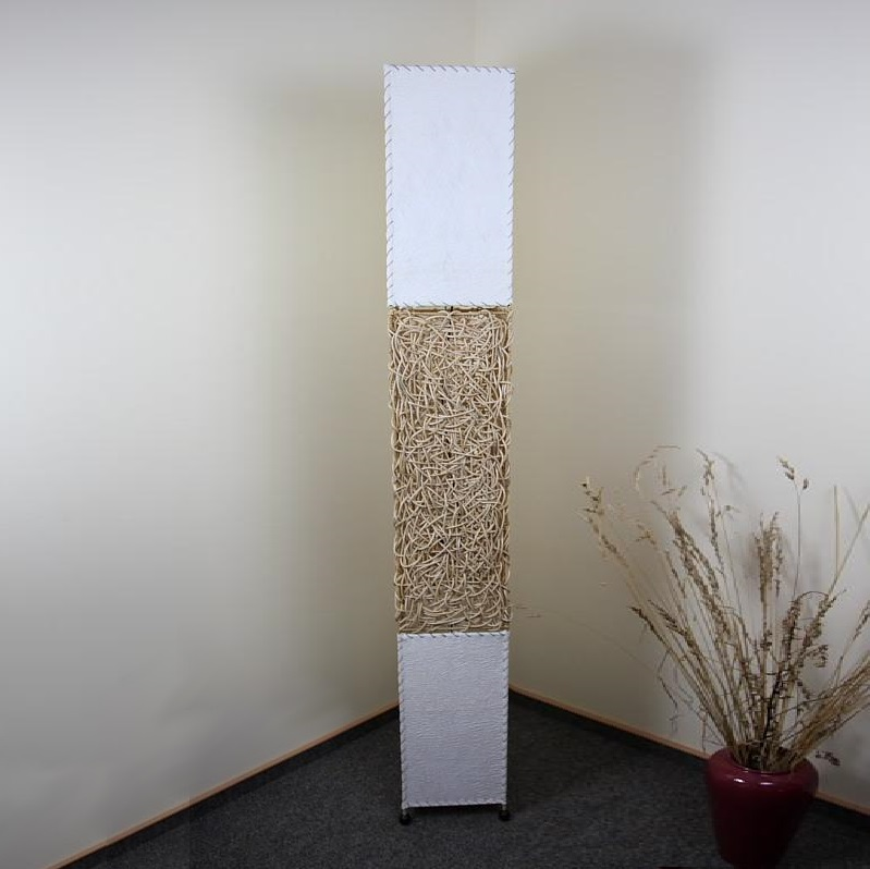 stehleuchte aus rattangeflecht und textil heller rattan 1x 40 watt beige wohnlicht. Black Bedroom Furniture Sets. Home Design Ideas