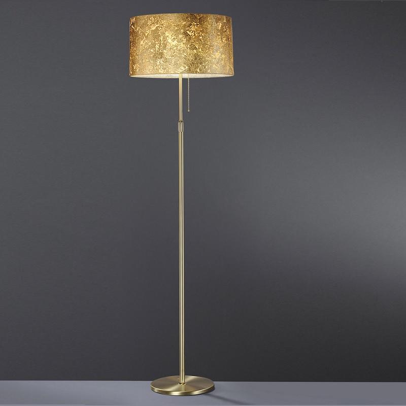 stehleuchte loop messing schirm blattgold mit zugschalter wohnlicht. Black Bedroom Furniture Sets. Home Design Ideas