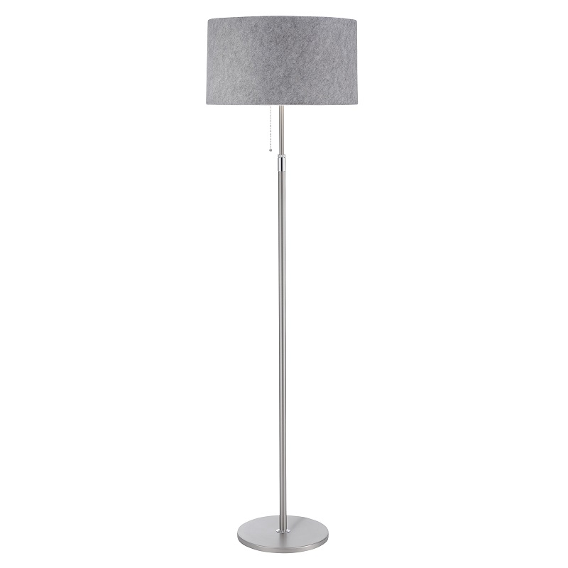 stehleuchte loop in nickel matt chrom mit schirm filz lichtgrau wohnlicht. Black Bedroom Furniture Sets. Home Design Ideas