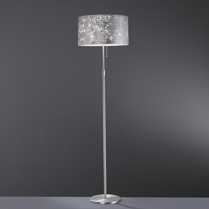 stehleuchte loop silber schirm blattsilber mit zugschalter wohnlicht. Black Bedroom Furniture Sets. Home Design Ideas