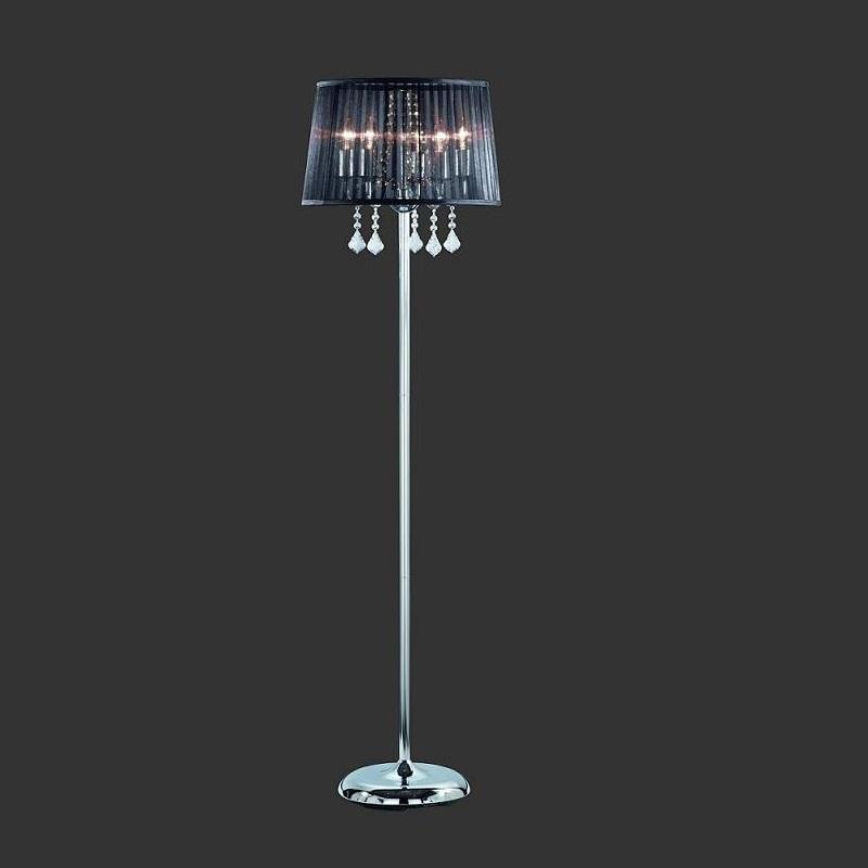stehleuchte organzastoff schwarz acrylbehang mit leuchtmittel wohnlicht. Black Bedroom Furniture Sets. Home Design Ideas