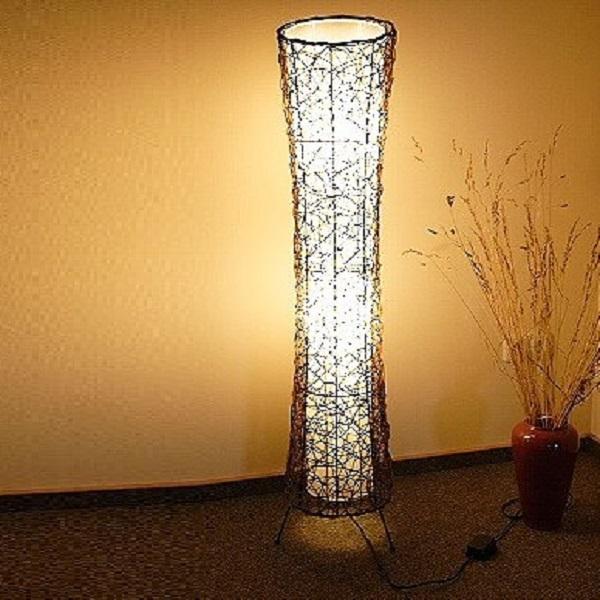 stehleuchte ruth aus rattan und stoffschirm wohnlicht. Black Bedroom Furniture Sets. Home Design Ideas
