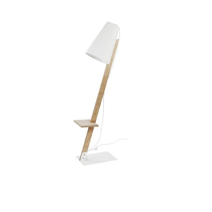 stehleuchte torino aus holz mit stoffschirm in wei wohnlicht. Black Bedroom Furniture Sets. Home Design Ideas
