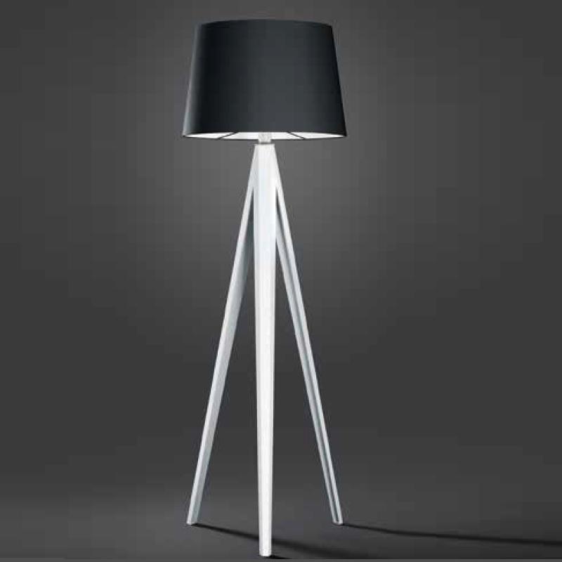 stehleuchte trio dreibein mit schwarzem stoffschirm wohnlicht. Black Bedroom Furniture Sets. Home Design Ideas