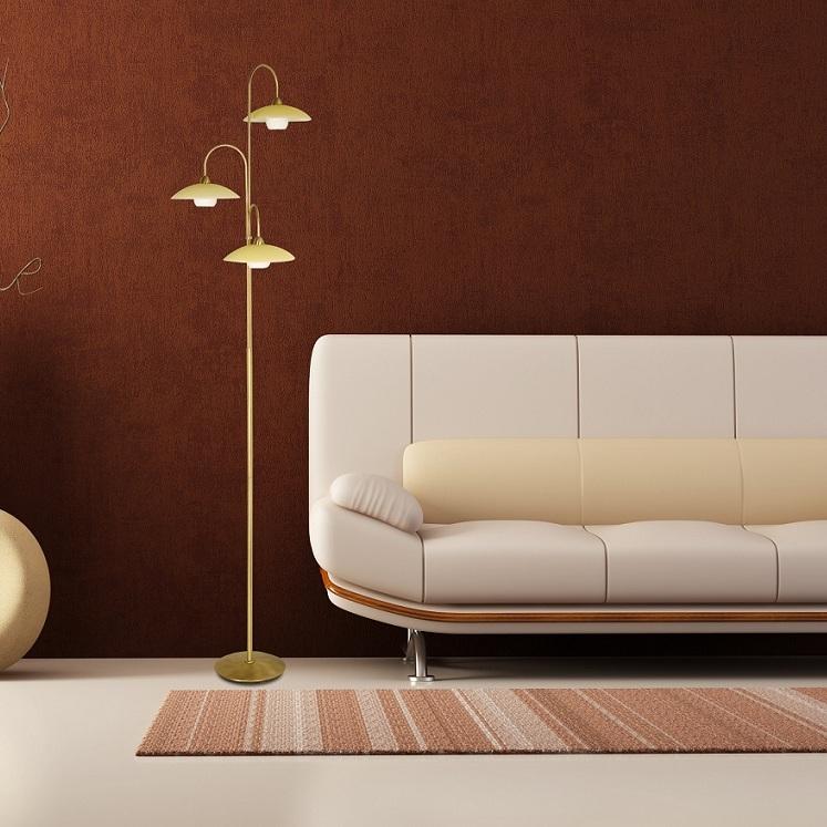 stilvolle stehleuchte 3 flammig mit glas bronze oder stahl wohnlicht. Black Bedroom Furniture Sets. Home Design Ideas