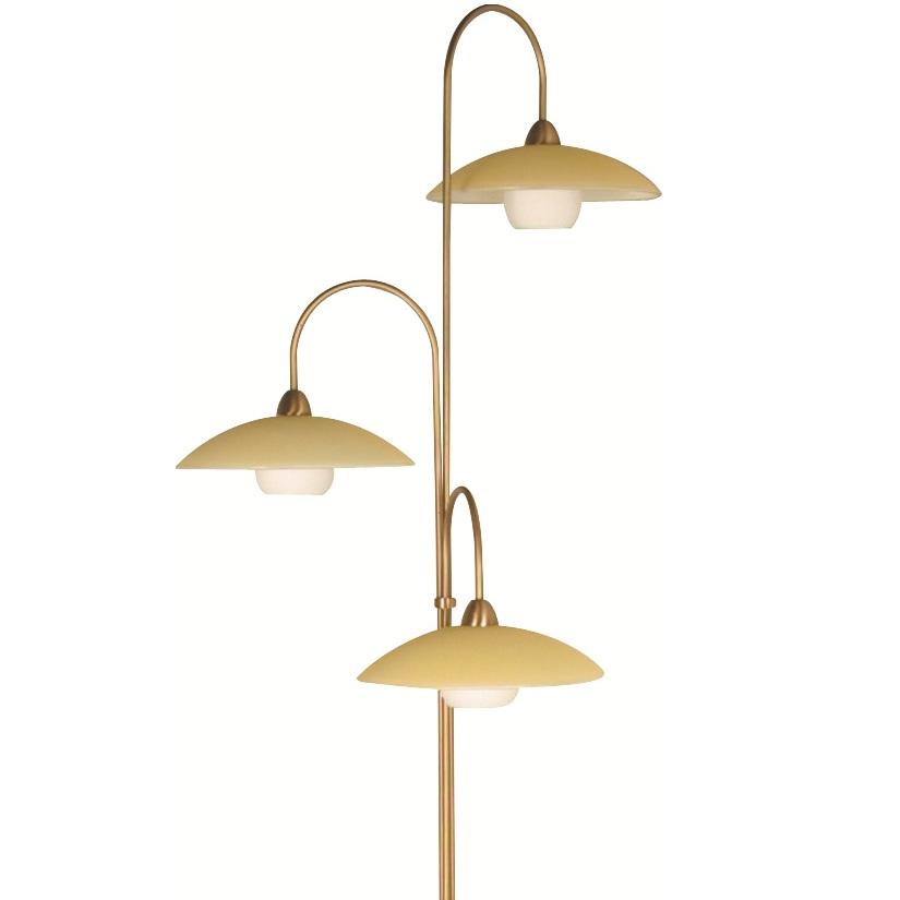 stilvolle stehleuchte 3 flammig mit glas bronze creme wei bronze wohnlicht. Black Bedroom Furniture Sets. Home Design Ideas