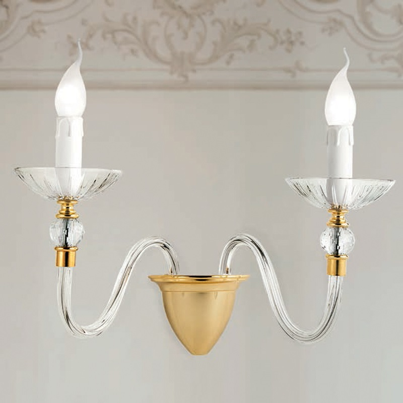 stilvolle wandleuchte in gold 24k 1 oder 2 flg wohnlicht. Black Bedroom Furniture Sets. Home Design Ideas