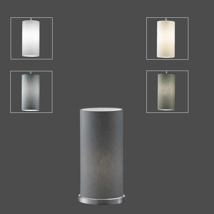 stofftischleuchte zylinder 34cm h he in braun oliv und. Black Bedroom Furniture Sets. Home Design Ideas