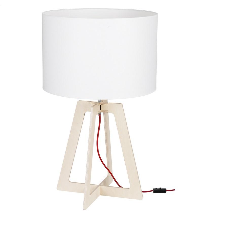 tischleuchte across m aus sperrholz mit stoffschirm wohnlicht. Black Bedroom Furniture Sets. Home Design Ideas