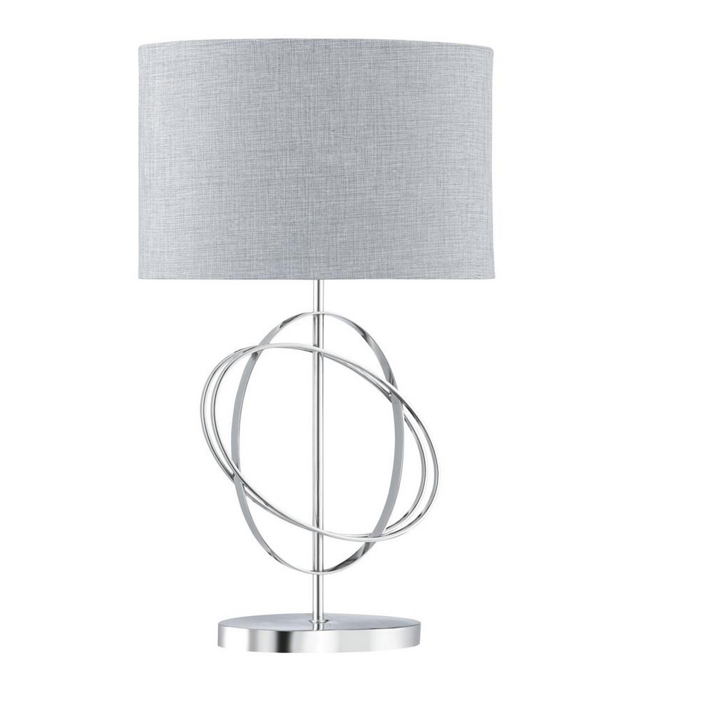 tischleuchte aus chrom mit stoffschirm aus leinen wohnlicht. Black Bedroom Furniture Sets. Home Design Ideas