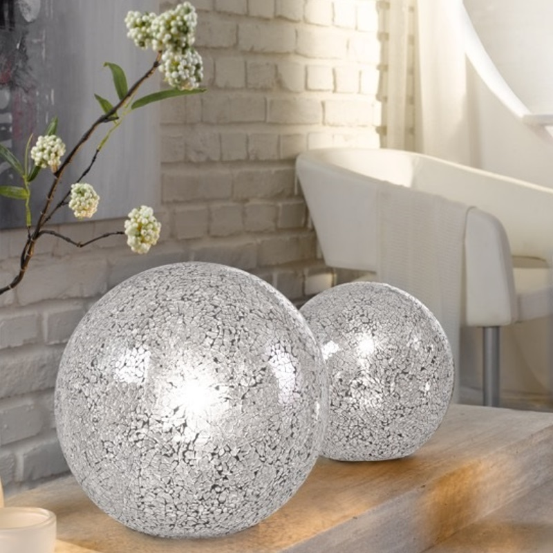 tischleuchte aus glas im craquele design in wei 2 gr en wohnlicht. Black Bedroom Furniture Sets. Home Design Ideas