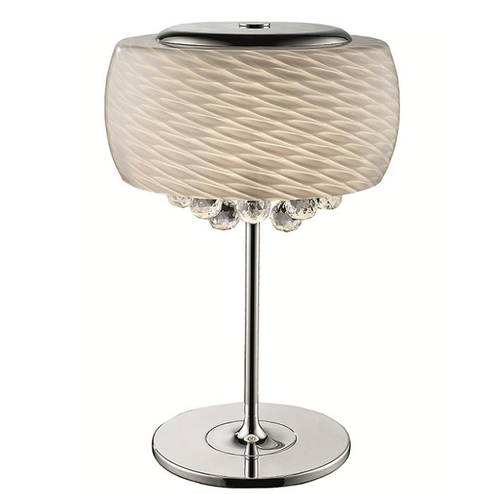 tischleuchte aus mundgeblasenem glas mit kristallbehang wohnlicht. Black Bedroom Furniture Sets. Home Design Ideas