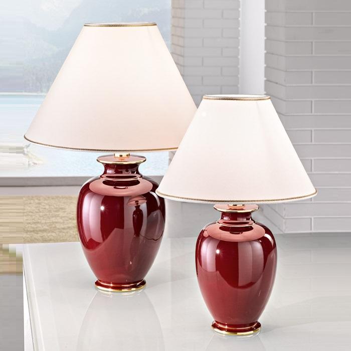 Tischleuchte bordeaux von kolarz wohnlicht for Grosse lampe de salon a poser