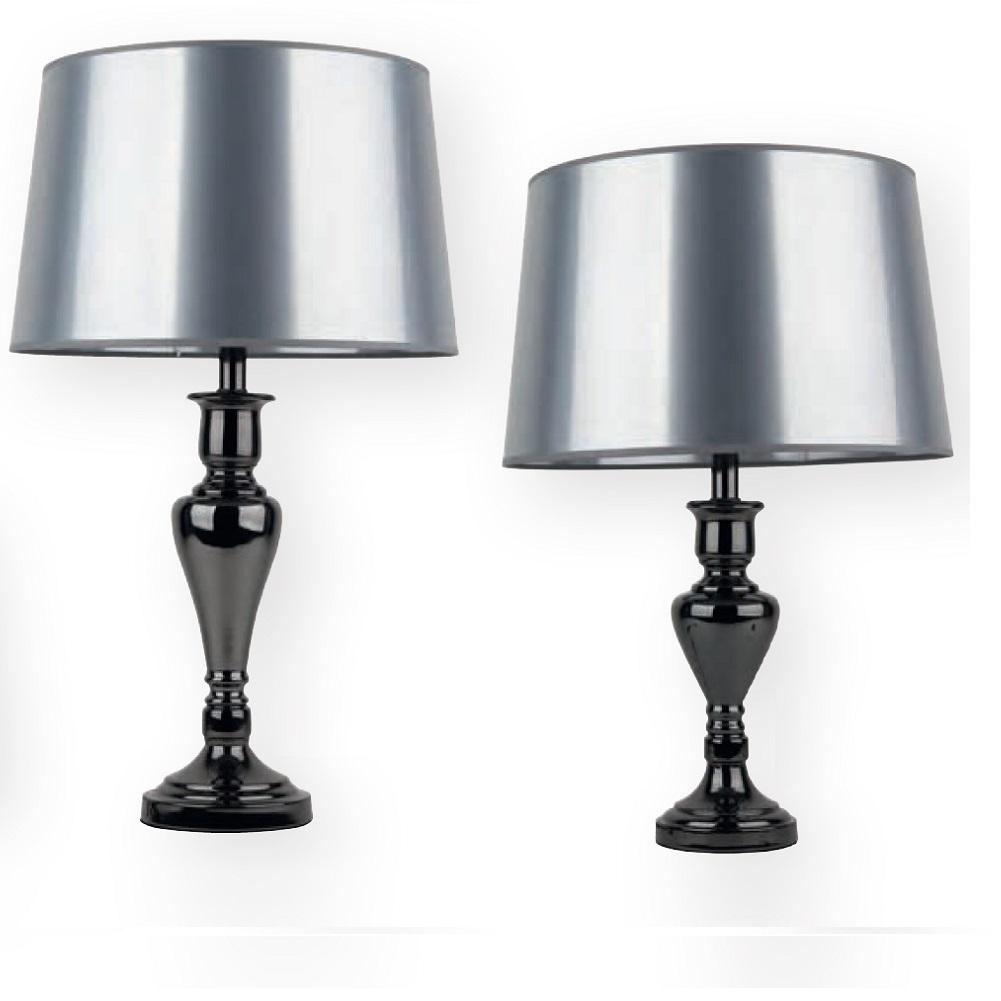 tischleuchte karma fu schwarzer chrom schirm silber wohnlicht. Black Bedroom Furniture Sets. Home Design Ideas