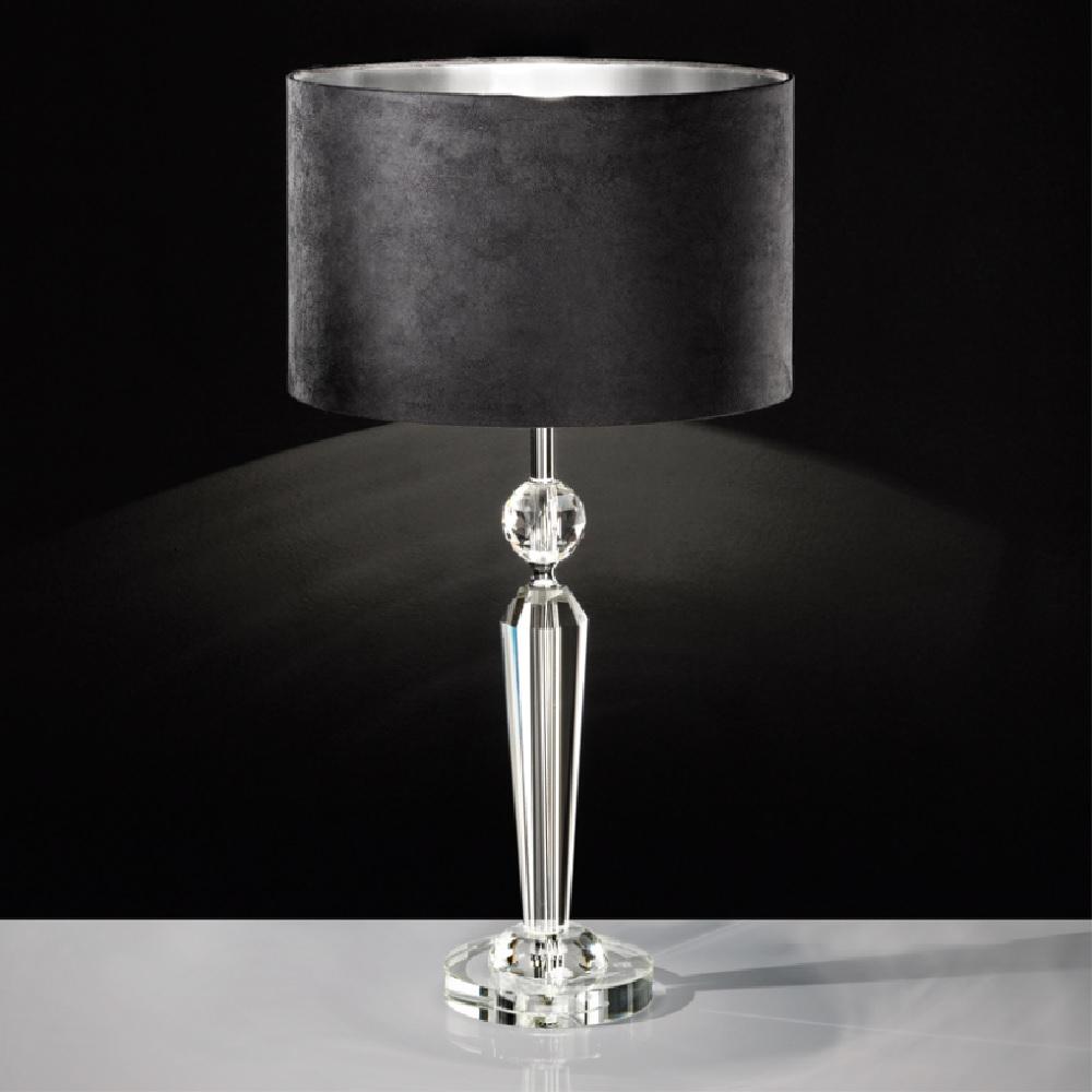 tischleuchte kristallfu schirm in schwarz silber 35cm wohnlicht. Black Bedroom Furniture Sets. Home Design Ideas